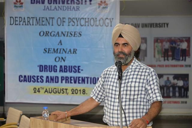 A seminar on Drug Abuse, It's Cause and Treatment was organized by the Department of Psychology at DAV University