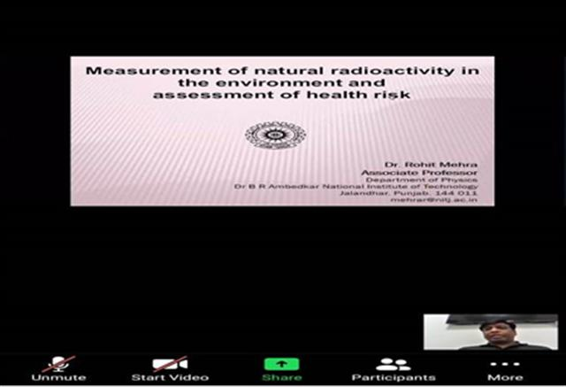 """DAV University holds webinar on """"Measurement of natural radioactivity in the environment and assessment of health risk"""""""