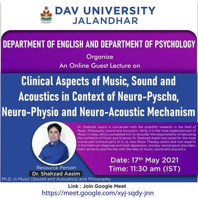 Dr. Shahzad Aasim from Kashmir Delivered a Lecture on Clinical Aspects of Music, Sound and Acoustics