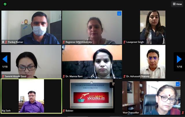 DAV University organized webinar on 'World No Tobacco Day'